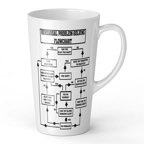 17oz Rehearsal Problem Solving Flowchart Novelty Music Funny Latte Mug